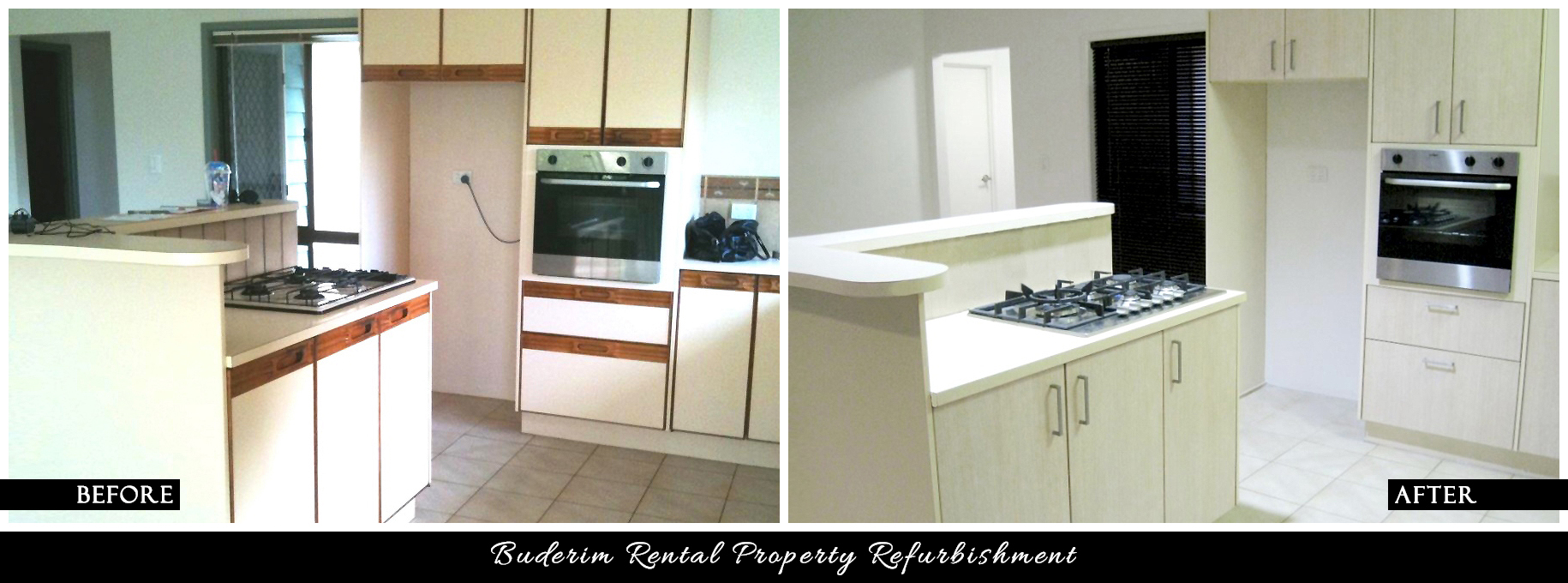 CANDY & CO. - BUDERIM RENTAL PROPERTY Before & After - Kitchen