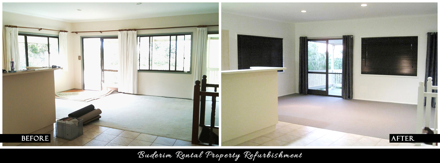 CANDY & CO. - BUDERIM RENTAL PROPERTY Before & After - Lounge